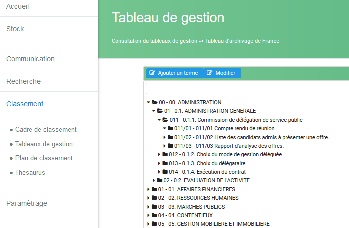 Tableau de gestion des Archives de France et ses rubriques de classement