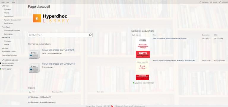 Page d'accueil d'Hyperdhoc Library